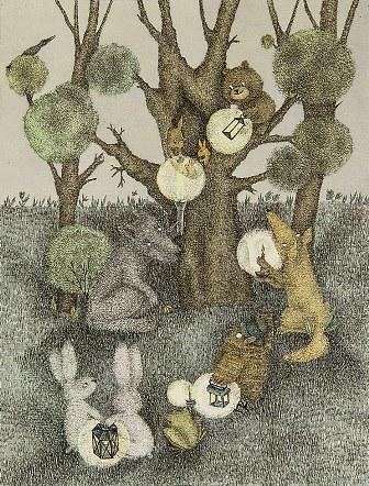 Ежик в тумане: Звери у дерева
