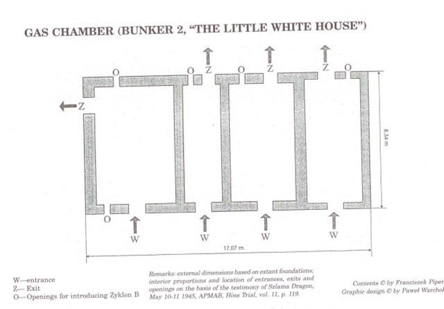 Схема газовых камер, расположенных в бункере «маленького белого домика». На схеме обозначены входы, выходы и отверстия, в которые поступал ядовитый газ.