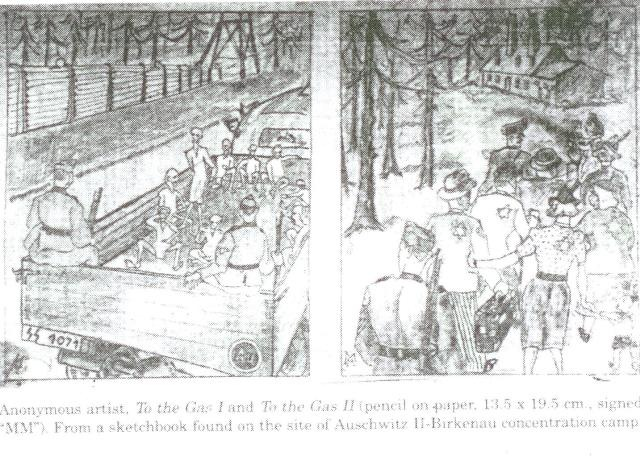 Два рисунка неизвестного узника. Его альбом был найден после освобождения лагеря. На обоих рисунках изображена отправка евреев в газовые камеры.