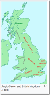 Вот карта этих королевств к концу периода англо-саксонского вторжения