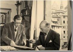 Федор Стравинский с отцом, Игорем Стравинским. Женева, 1952 г.